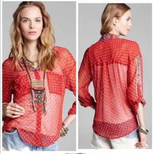 ⭐️Free People Printed Easy Rider Button-down